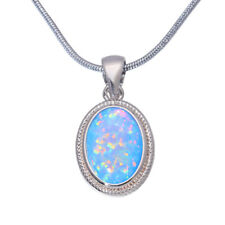 "Blue Fire Opal Silver for Women Jewelry Fashion Gems Necklace Pendant 1""OD6776"