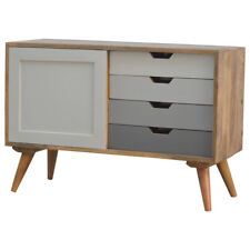 Mid Century Modern Style TV Media Unit Storage Cabinet In Grey