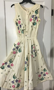 Vintage Play Alegre 100% Cotton Hand Painted Dress San Diego California USA
