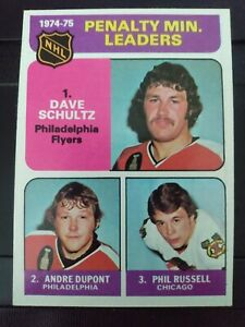1975-76 Topps #211 Penalty Min. Leaders- Schultz/Dupont/Russell