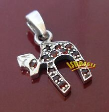925 Sterling Silver JEWISH CHAI PENDANT WITH RED CZ CRYSTALS - Hebrew Chaim