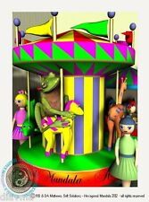 © ART - Ltd.Ed. green tree FROG and Merry go round - Original Artist Print by Di