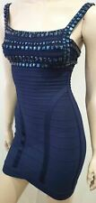 HERVE LEGER Navy Blue Beaded Structured Bandage Bodycon Evening Mini Dress XS