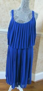 NY Collection Sleeveless Pleated layered Blue Shift Dress Size XL
