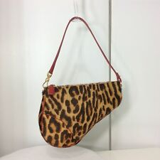 Christian Dior Leopard Print Calf Hair Red Leather Trim Small Saddle Bag Purse