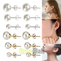 3pairs 6/8/10mm Genuine Cultured Freshwater Pearl Stud Earrings Sterling Silver