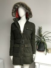 Barbour STORM Waxed Wax Ladies Down & Feathers Parka Hooded Jacket Olive UK 10