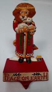 MIDWEST Engelbreit LION LAMB PEACE Cast Iron CHRISTMAS STOCKING HOLDER Hanger A