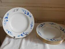 La Seynie 6 Plates Hollow Flowers Blue Braid Gold Porcelain Limoges A.Brissac
