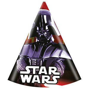 CLASSIC STAR WARS PARTY HATS X 6 DARTH VADER BIRTHDAY