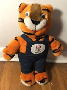 "16"" Tiger Mascot 1988 Seoul South Korea Olympic Games 80s Toy Orange Cat"