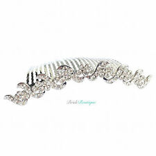 Curved Design Bridal Wedding Silver Diamante Crystal Hair Comb Slide Clip HC15