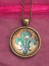 Fleur De Lis Glass Cabochon Dome Pendant Necklace. Hand Made. NEW.