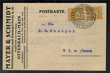 1923 Offenbach Germany Inflation Postcard Perfin cover to Ulm Mayer & Schmidt
