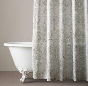 RH Modern Shower Curtain Italian Distressed Scroll Linen White Beige Neutral