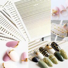 2 Sheets Gold Silver 3D Curve Stripe Lines Nail Art Sticker Manicure Decoration