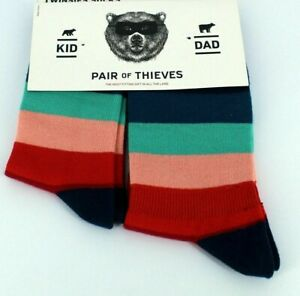 Pair of Thieves Dad (Size 8-12) and Kid (9 -12 Years) Matching Striped Socks