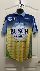 2020 Kevin Harvick Busch Light Beer Used Crew Race Day Shirt Size SM SHR