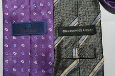 LOT of 2 Ties DONAHUE & VARVATOS Made in Italy & USA Purple Paisley & Striped