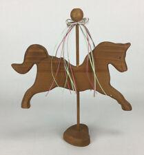 """Vintage 11"""" Wood Carousel Horse Heart Figurine Figure"""
