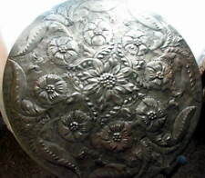 Kerala Embossed Round Side Accent Table -Silver Metal Top- Flowers -Metal base