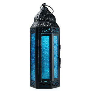 Glass Metal Moroccan Delight Garden Candle Holder Table/Hanging Lantern 2 Color