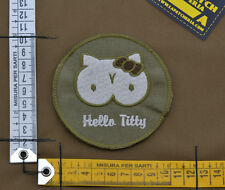 "Ricamata / Embroidered Patch ""Hello Titty"" Coyote Tan with VELCRO® brand hook"