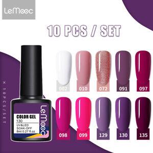 LEMOOC 10 Bottles 8ml Nail UV Gel Polish Soak off Nail Art UV Gel Varnish Kit