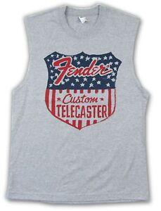 Fender Guitar Stars Custom Telecaster Grey Tank Muscle Shirt New Official