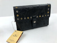Patricia Nash COLLI Leather Wallet Clutch Flap BLACK Laser Floral Studs NWT