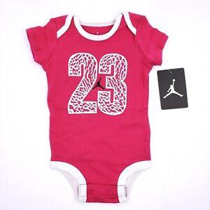 Nike Jordan Jumpman Baby Infant Girls Size 0-6 Months Pink #23 Graphic Bodysuit