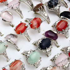 Wholesale Lots 10pcs Mixed Women Natural Gemstone Silver Plated Rings Jewelry