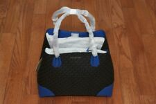 NWT Michael Kors $348 Studio Mercer Large Corner Tote Bag Black/Electric Blue
