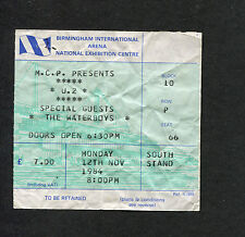 U2 Waterboys 1984 Concert Ticket Stub Birmingham UK The Unforgettable Fire