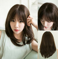 Hot Women Fashion Medium Straight Full Wig Synthetic Hair Cosplay Wigs+Wig Cap