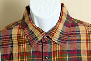 Taylor Stitch Men's tan, blue and red plaid LINEN blend long sleeve shirt 44 XL