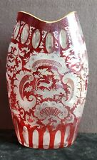 Victorian RED Cut to Clear ornate Hunting Theme Bohemian Glass Vase, Stag, Hound