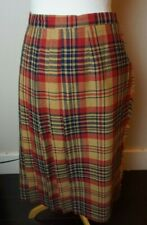 Vtg. Paula Saker Tan Black Red Plaid Wool Pleated Wrap Skirt sz 8  UU-13