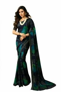 Saree Georgette Indian Bollywood Blouse New Designer Ethnic Fancy Party Wear Sc