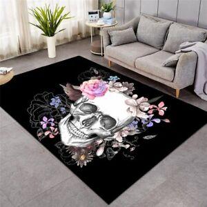 Floral Flower Skull Gothic Rose Rectangle Rug Carpet Mat Living Room Bedroom