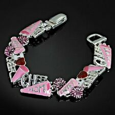 Cheerleader I love Cheer Mom Enamel Magnetic Clasp  Bracelet Jewelry Fashion
