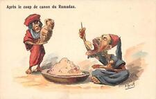 CPA ILLUSTRATEUR MAURESQUE SIGNE HERZIG APRES LE COUP DE CANON DU RAMADAN