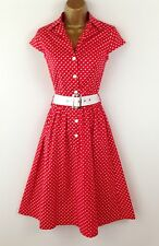 Lindy Bop Red Polka Dot Rockabilly Holiday Casual Party Evening Dress UK Size 10