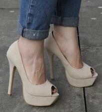 Nouveau Haut Femmes Plateforme À Talon Haut Bout Ouvert Escarpins Chaussures Taille UK 5 EU 38