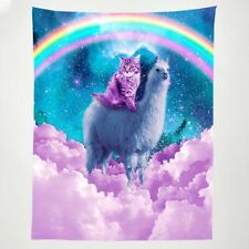 Beautiful Pink Cat and Alpaca Tapestry Rainbow Romance Wall Hanging Tapestry