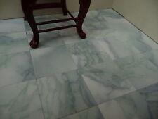 "100 Marble-esque 1 12th Scale 1"" Ocean Wave Blue Dolls House Floor Tiles"