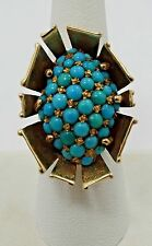 14K Yellow Gold Persian Turquoise Cluster Modern Ring SZ 7.25 A105
