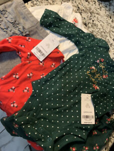 5pc NWT CARTER'S Baby Girl's Christmas Outfit Bodysuit/Leggings Size 3 Months