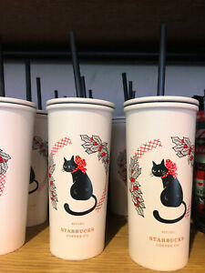 Starbucks Christmas 2020 Stainless Steel Black Cat 12oz Cold Cup