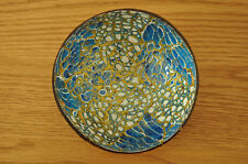 Handmade Decorative Coconut Bowl, Lacquered Inlaid With EggShell Blue-Gold H066